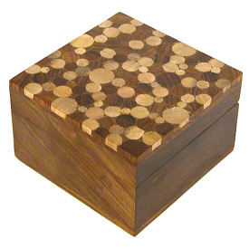 """Shesham Square Wooden Box with Mango Wood Inlay on Top Measures 4-5/8"""" wide x 4-5/8"""" deep x 3"""" high"""