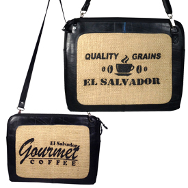 Recycled Tire Tube and Jute Shoulder Bag 15 1/4'' wide x 12'' high, 52'' adjustable and removable strap zipper closure and cotton linning