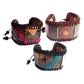 Large Gourd Adjustable Bracelets<br/ width=275 >Handmade in Columbia<br/>8'' to 12 3/4'' long x 1 5/8'' wide