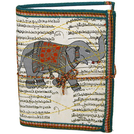 Block-Printed and Stitched Cloth Diary with Elephant Measures 4-1/2 wide x 6 high