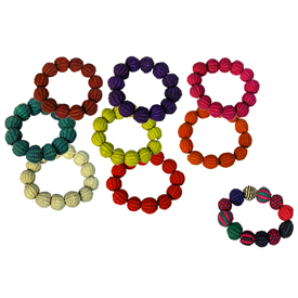 Bracelets made from Paja Toquilla by Artisans in<br/ width=275 >Ecuador<br/>3'' Diameter, each ball is 1 3/8'' circumference
