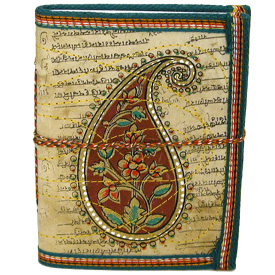Block-Printed and Stitched Cloth Diary with Paisley Design Measures 4-1/2 x 6 high