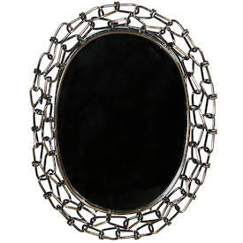 Oval Mirror made of Large Link Chain Mirror Measures 5 wide x 7 high