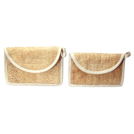 Loofah Cosmetic Bag and Pouch Handmade in Ecuador Cosmetic Bag Measures 5'' high x 7 3/4'' wide Pouch Measures 4 1/2'' high x 7 1/2'' wide
