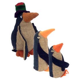 Jute Penguin Figurines Handmade in Bolivia Large Measures 10'' high x 6 1/2'' wide x 6 1/2'' deep, Medium Measures 8'' high x 3'' wide x 3'' deep, Small Measures 5 1/4'' high x 3'' wide x 3'' deep