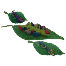 Jute Worm on leaf Figurines Handmade in Bolivia Large Measures 18'' high x 10'' wide, Medium Measures 13'' high x 6'' wide, Small Measures 8'' high x 4'' wide