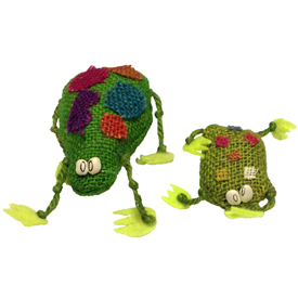 Jute Frog Figurines Handmade in Bolivia Small Measures 4 5/8'' high x 3'' wide x 1 5/8'' deep, Extra Small Measures 2 7/8'' high x 1 7/8'' wide x 1 1/8'' deep