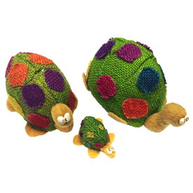 Jute Turtle Figurines Handmade in Bolivia Medium Measures 4'' high x 3 1/2'' wide x 6'' deep, Small Measures 3 3/8'' high x 3 1/8'' wide x 4 3/4'' deep, Extra Small Measures 1 3/8'' high x 1 1/2'' wide x 2 3/8'' deep