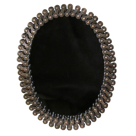 Oval Mirror made of Recycled Bicycle Chain Mirror Measures 5 wide x 7 high