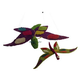 Multi Color Jute Butterfly Figurines Handmade in Bolivia Medium Butterfly Measures 2'' high x 11'' wide x 7 5/8'' deep, Small Butterfly Measures 3 1/4'' high x 9 5/8'' wide x 6'' deep