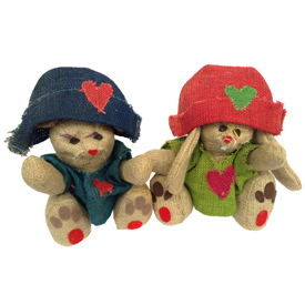 Large Jute Bear and Rabbit Figurines w/Multi Color Cloth Handmade in Bolivia Large Bear Measures 11'' high x 8 3/8'' wide x 7 1/2'' deep, Large Rabbit Measures 9'' high x 9 1/2'' wide x 9'' deep