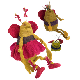Multi Color Jute Bee Figurines Handmade in Bolivia Large Bee Measures 12'' high x 8'' wide x 8'' deep, Medium Bee Measures 6'' high x 3 1/2'' wide x 3 1/2'' deep, Extra Small Measures 2'' high x 1 3/8'' wide x 1'' deep