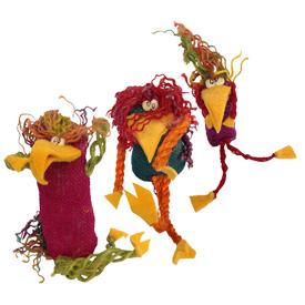 Multi Color Jute Crazy Bird Figurines Handmade in Bolivia Medium Crazy Bird Measures 7'' x 3'' x 8'', Small Crazy Bird Measures  4'' x 3'' x 3'', Extra Small Crazy Bird Measures 2'' x 1'' x 1''