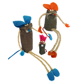 Multi Color Jute Mice Figurines Handmade in Bolivia Medium Measures 8'' high x 2 3/4'' wide x 2 1/8'' deep,  Small  Measures 5 1/4'' high x 2 3/4'' wide x 2 1/8'' deep, Extra Small Measures 3 1/2'' high x 1'' wide x 3/4'' deep