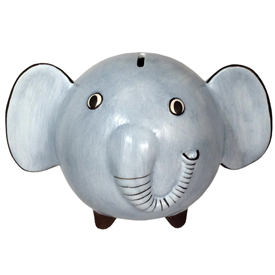 "Blue Elephant Bank, crafted by Artisans in Peru   Measures 5 1/2"" high x 6 1/2"" wide x 5 1/4"" deep"