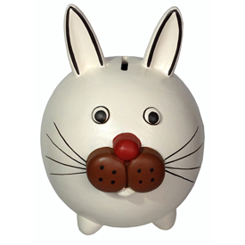 "White Rabbit Bank, crafted by Artisans in Peru   Measures 5 1/2"" high x 4 3/8"" wide x 5 1/4"" deep"