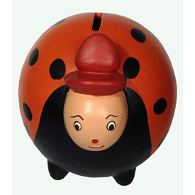 "Orange Ladybug Bank, crafted by Artisans in Peru   Measures 5"" high x 4 3/8"" wide x 5"" deep"