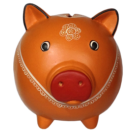 "Orange Piggy Bank, crafted by Artisans in Peru   Measures 4 5/8"" high x 4 5/8"" wide x 5"" deep"