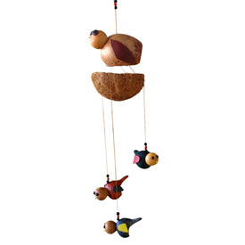 Baby Birds Fledge Nest Gourd Mobile from Colombia Measures 31'' long x 6'' wide x 8'' diameter