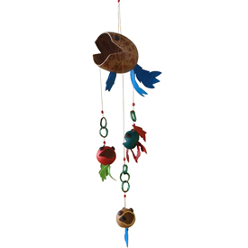 Fish Gourd Mobile from Colombia Measures 50'' long x 6'' wide x 10'' diameter