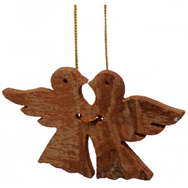 "Love Birds Ornament made from Cinnamon Bark crafted by Artisans in Vietnam   Measures 1 3/4"" high x 2 7/8"" wide x 1/8"" deep"