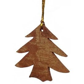 "Tree Ornament made from Cinnamon Bark crafted by Artisans in Vietnam   Measures 2"" high x 2"" wide x 1/8"" deep"