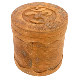 "OM Box made from Cinnamon Wood crafted by Artisans in Vietnam    Measures 3"" high x 2 7/8"" diameter"