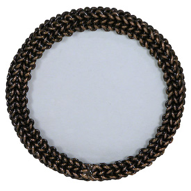 Small Round Photo Frame made of Woven Chain Interior Frame Measures 3-1/2 diameter Entire Frame Measures 5 diameter x 2-1/2 deep