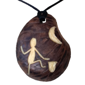 Tagua Dancing w/Moon Pendant w/Skin 2'' tall x 1 1/2'' wide x 3/8'' thick Handmade by Artisans in South America