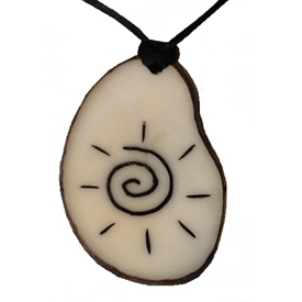 Tagua Sun Symbol Pendant 1 1/2'' tall x 1 1/8'' wide x 1/8'' thick Handmade by Artisans in South America