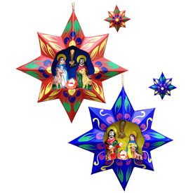"Recycled Paper Star Nativaty Ornaments, crafted by Artisans in Peru   Measures 4 5/8"" wide x 1 1/2"" deep"
