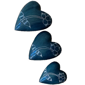 Green Soapstone Heart with Etched Flower Small, Medium and Large Crafted by Artisans in Haiti
