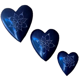 Purple Soapstone Heart with Etched Flower Small, Medium and Large Crafted by Artisans in Haiti