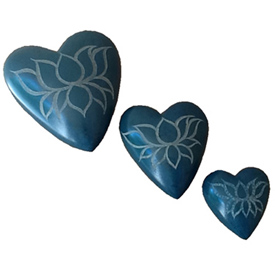 Teal Soapstone Heart with Etched Flower Small, Medium and Large Crafted by Artisans in Haiti