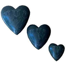 Grey Soapstone Heart with Etched Tulips Small, Medium and Large Crafted by Artisans in Haiti