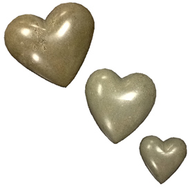 Grey Soapstone Heart Small, Medium and Large Crafted by Artisans in Haiti