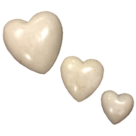 White Soapstone Heart Small, Medium and Large Crafted by Artisans in Haiti