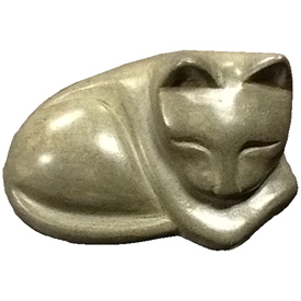 Grey Soapstone Cat Figurine 2 1/4'' high x 3 7/8'' wide x 3'' deep Crafted by Artisans in Haiti