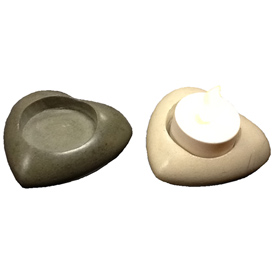 White or Grey Soapstone Heart Tealight Figurine 1'' high x 3'' wide x 3'' deep Crafted by Artisans in Haiti
