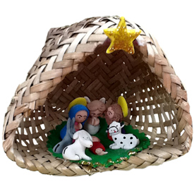 Basket Nativity with Marzipan Figurines<br width=275 >handmade in Ecuador by artisans at Camari<br/>Basket Measures 3 1/2 tall x 4 wide x 3 1/2 diameter, each piece is slightly different<center/>