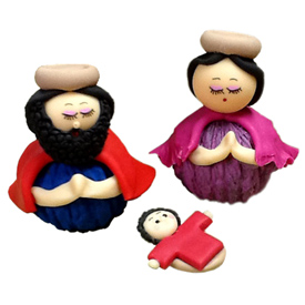 3 Piece Marzipan Nativity with Walnut Base<br width=275 >handmade in Ecuador by artisans at Camari<br>Joseph Measures 2 1/2 tall x 2 1/4 wide x 2 1/8 diameter<center/>