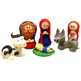3 Piece Marzipan Nativity with Walnut Base<br width=275 >handmade in Ecuador by artisans at Camari<br>Joseph Measures 1 7/8 tall x 1 1/4 wide x 7/8 diameter<center/>
