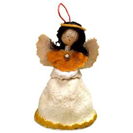Orange Piel Angel Ornament<br width=275 >handmade in Ecuador by artisans at Camari<br>Angel Measures 3 5/8 tall x 2 1/2 wide x 1 3/4 diameter<center/>