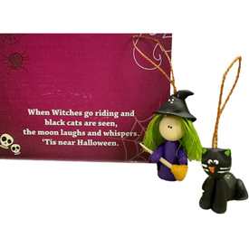 "Halloween Witch and Cat Ornaments Crafted by Artisans in Colombia  Witch Measures 2"" high x 1'' wide x 3/4''deep Cat Measures 1 1/8"" high x 7/8'' wide x 1'' deep"