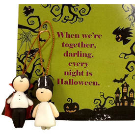 "Halloween Vampire Couple Ornaments Crafted by Artisans in Colombia  Man Measures 1 5/8"" high x 7/8'' wide x 3/8''deep Woman Measures 1 5/8"" high x 7/8'' wide x 3/8'' deep"