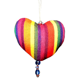 Plush Cotton Heart Ornament handmade in GuatemalaHeart Measures 2 7/8''high x 3''wide x 1 1/4''deep  Assorted Fabrics