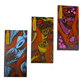 Certified Organic, Vegan and Fair Trade Chocolate Bars - 70% Dark Chocolate  70 gr. bars (2.5 oz.) Brazil Nut, Quinoa, and Coconut
