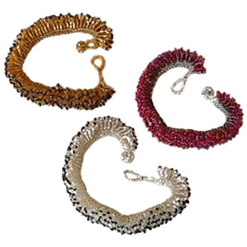 "Maya Bead Caterpillar Bracelets Crafted by Artisans in Guatemala  Measure 6 3/4"" long x 3/4"" wide"