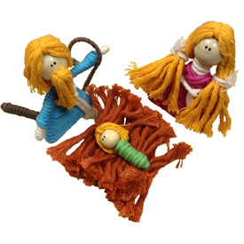 """Nativity Cotton and String Doodad Ornament Crafted by Artisans in Colombia  Measure 2 1/2"""" high x 1 1/2'' x 1 /12'' deep"""