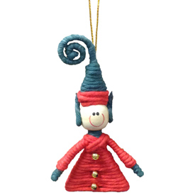 "Elf Cotton and String Doodad Ornament Crafted by Artisans in Colombia  Measure 3 1/2"" high x 2'' x 5/8'' deep"